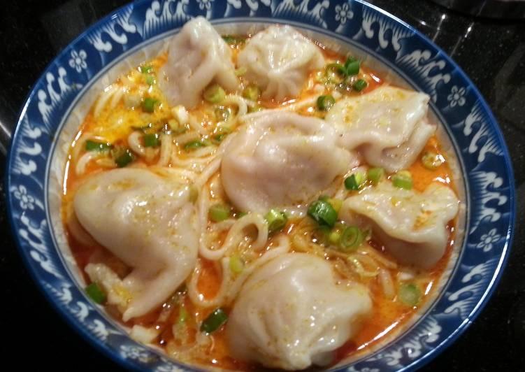 Steps to Prepare Quick Asian Curry Noodle Dumpling Soup