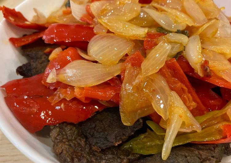 Bikin Dendeng Balado Garing dengan thin slice beef steak di UK