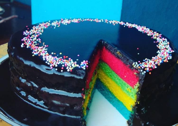 Rainbow cake siram ganache