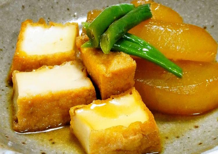 Steaming Hot Ginger Flavored Simmered Daikon Radish and Atsuage (Thick Fried Tofu)