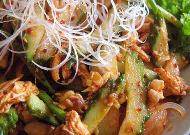 Korean-style Spicy Cucumber and Cellophane Noodle Salad