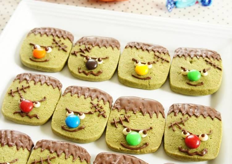 Halloween Themed Frankenstein Monster Matcha Tea Cookies
