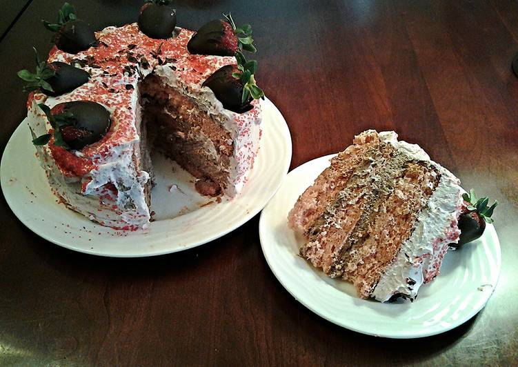 Fresh Strawberry Chiffon Layer Cake with Chocolate and Strawberry Whipped cream