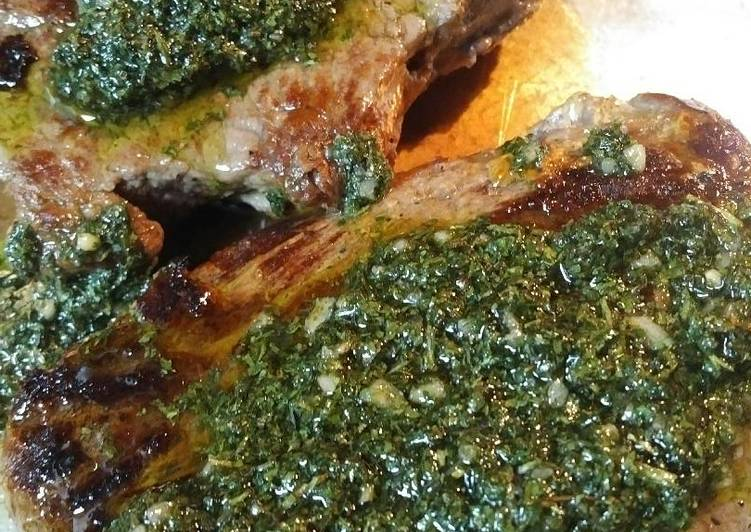 Buttered Sirloin Steak with Chimichurri Sauce