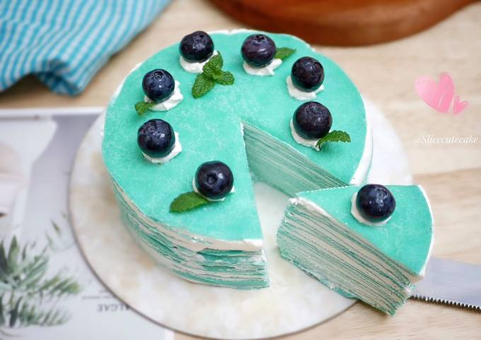 Butterfly Pea Mille Crepes / Kembang Telang Layer Crepe Cake