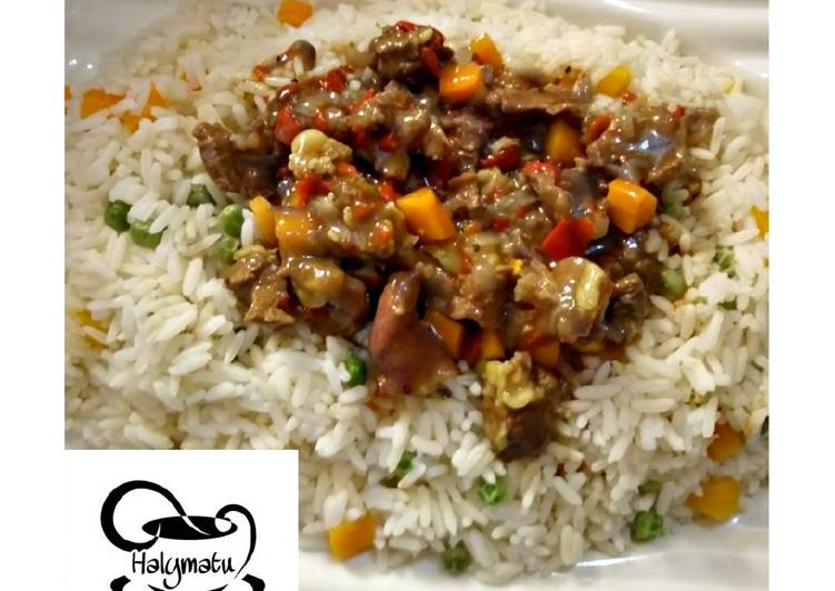 Vegetable rice with beef soup