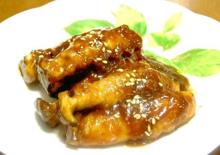 Recipe of Speedy Garlic-Miso Teriyaki King Oyster Mushroom and Pork Roll