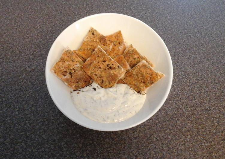 Recipe of Ultimate Homemade Crackers With A Homemade Dip