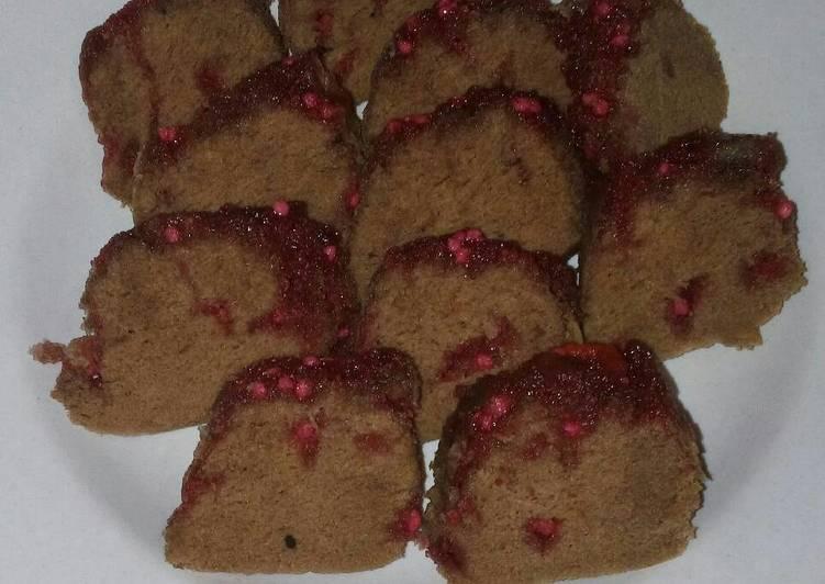 Bolu Kukus Coklat Permen Pink