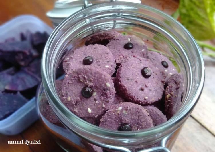 Cookies oat ubi ungu (gluten free, sugar free)