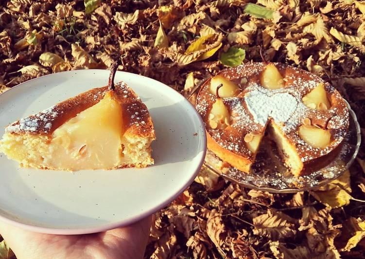 Comment faire Préparer Délicieux Gâteau poire, vanille & amande❤