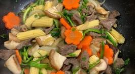 Hình ảnh món Thịt bò xào ngô bao tử rau cần cà rốt nấm hương