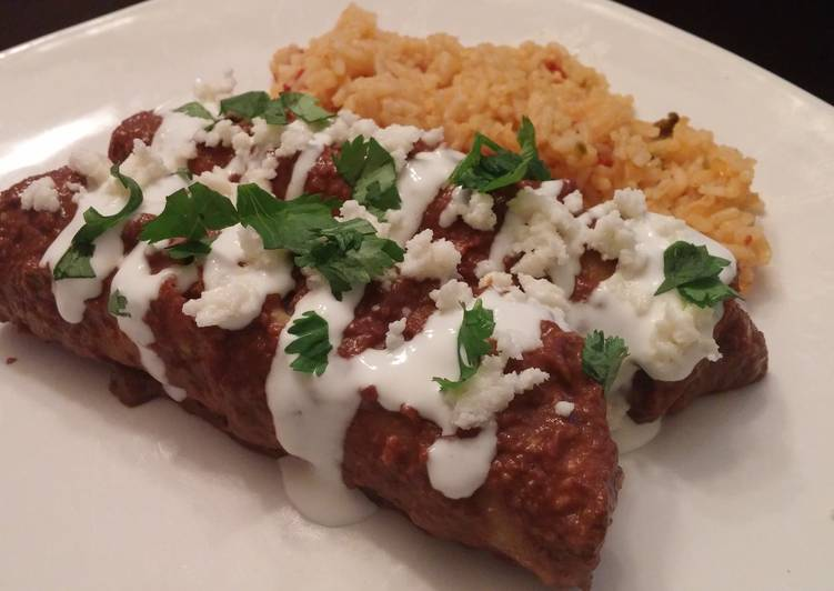 Chicken chipotle mole enchiladas
