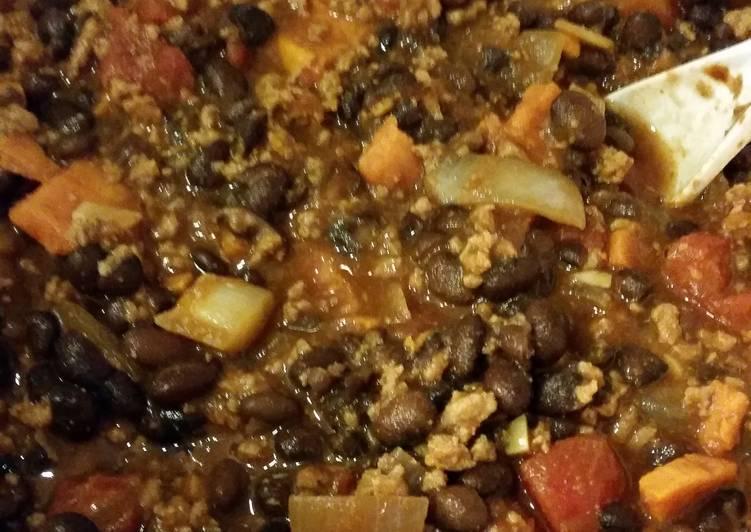 Turkey, Sweet Potato,  Black Bean Chili