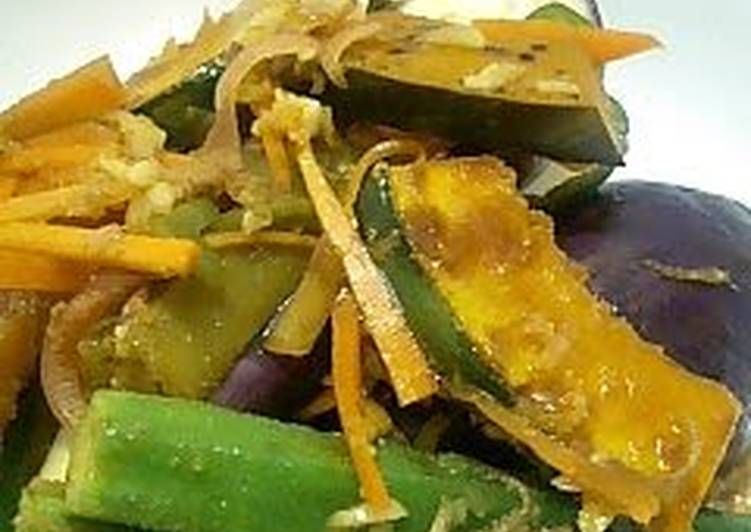 Eggplant, Okra, and Kabocha Squash in Nanban Sauce