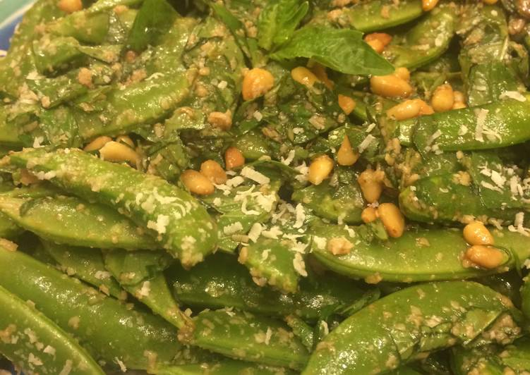 Simple Way to Prepare Quick Sugar Snap Pea With Parmigiano Salad