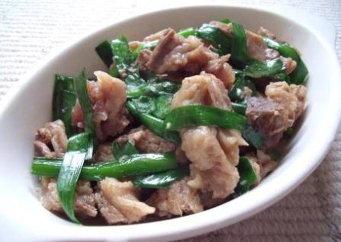 Recipe of Delicious Light and Salty! Simmered Beef Tendon and Chinese Chives