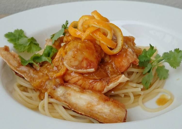 Spaghetti And Salmon In Orange Ginger Sauce