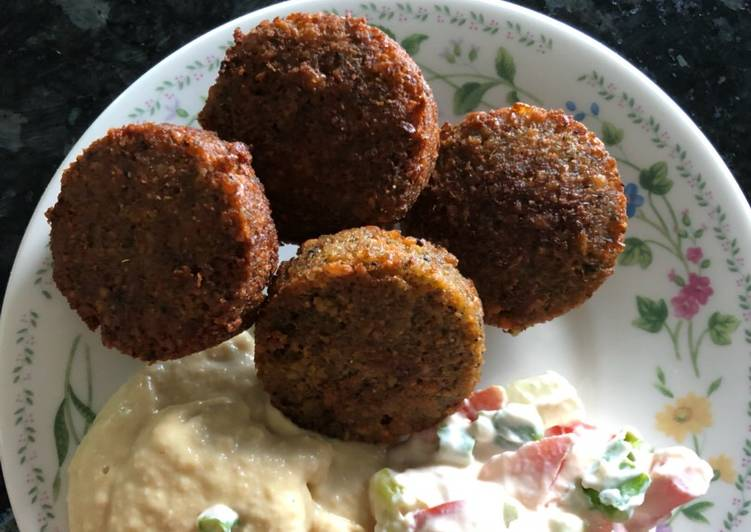 Falafel with hummus and tahini salad what 3 recipes yummy