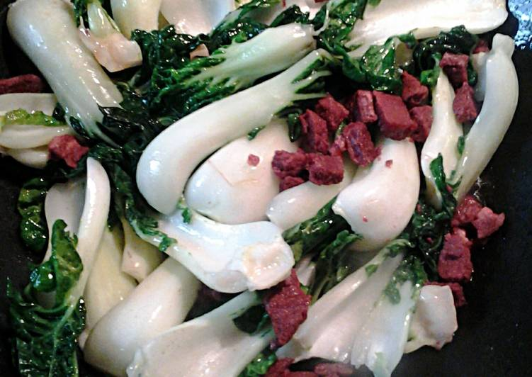 Bok Choy with Cantonese Roast Pork