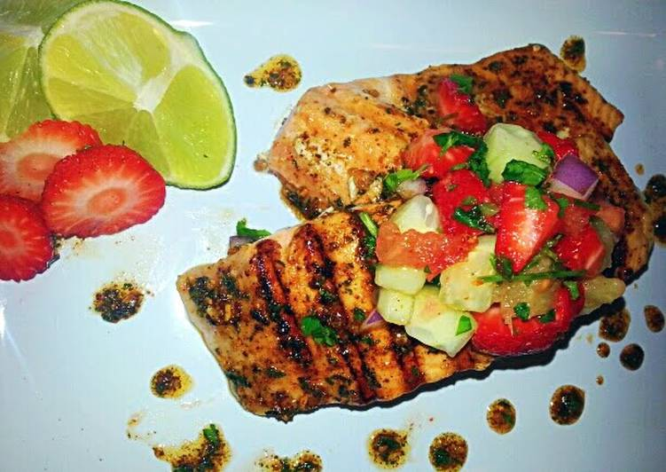 Easiest Way to Prepare Speedy Mojito Lime grilled Salmon & Strawberry Pineapple Pico`