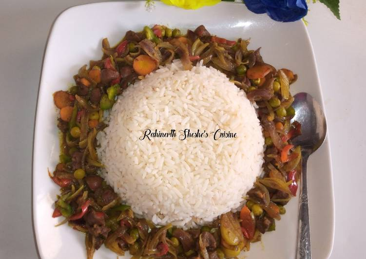 Steps to Make Quick White Rice with kidney Sauce😋😋😍