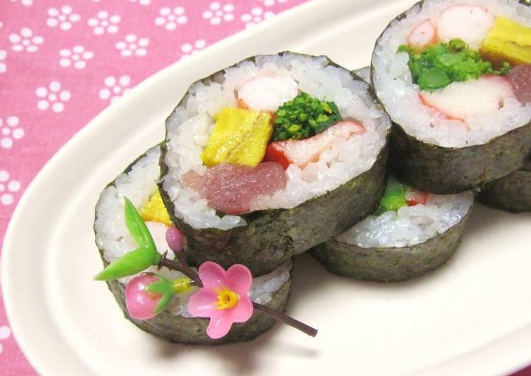 Doll's Festival Seafood Futomaki Sushi Rolls with Nanohana