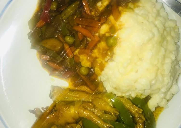 Cream samp &chicken feet with veggies