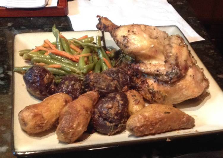 Roasted Cornish Hens, Green Beans, & Roasted Fingerling Potatoes