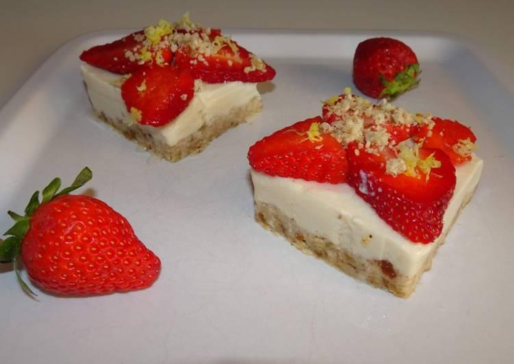 Comment faire Cuire Appétissante Cheesecake aux fraises sans cuisson (vegan)