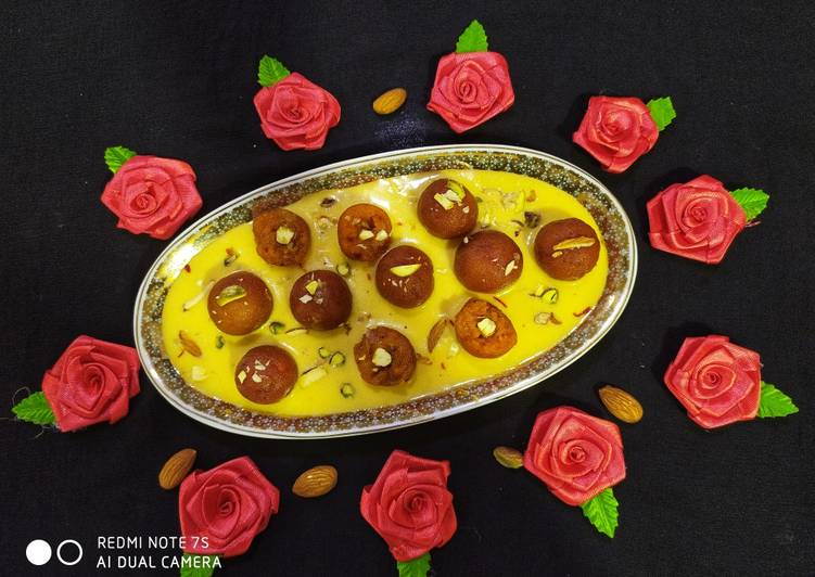 Carrot Gulab Jamun with Mango Rabri