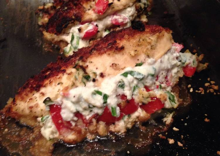 Recipe of Super Quick Homemade Panko Crusted Chicken Stuffed W/ Ricotta, Spinach, Tomato & Basil