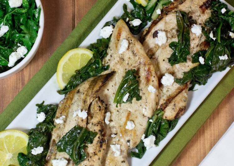 Recipe of Ultimate Marinated grilled chicken with sauteed kale and spinach
