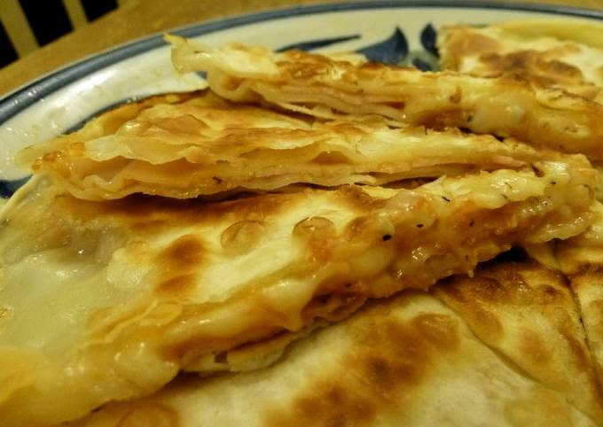 Ham and Cheese Grilled Between Gyoza Skins