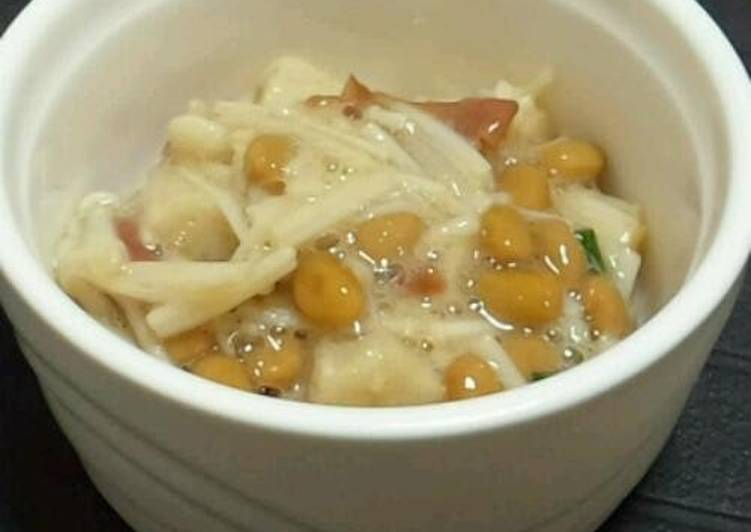 Use Food to Improve Your Mood Enoki Mushrooms and Natto with Umeboshi