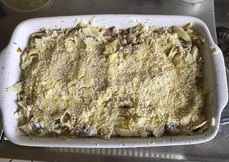 Gratin de pommes de terre aux harengs et oignons doux