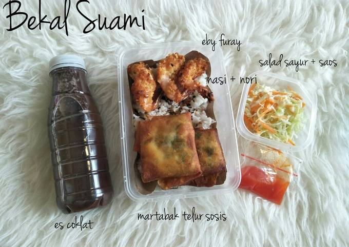 Bekal suami eby furai + salad sayur