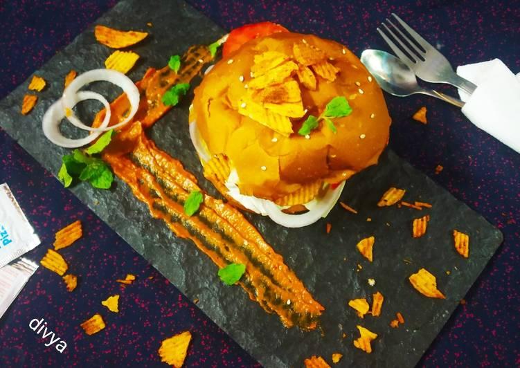 Steps to Make Favorite Chickpea Aloo tikki lays burger