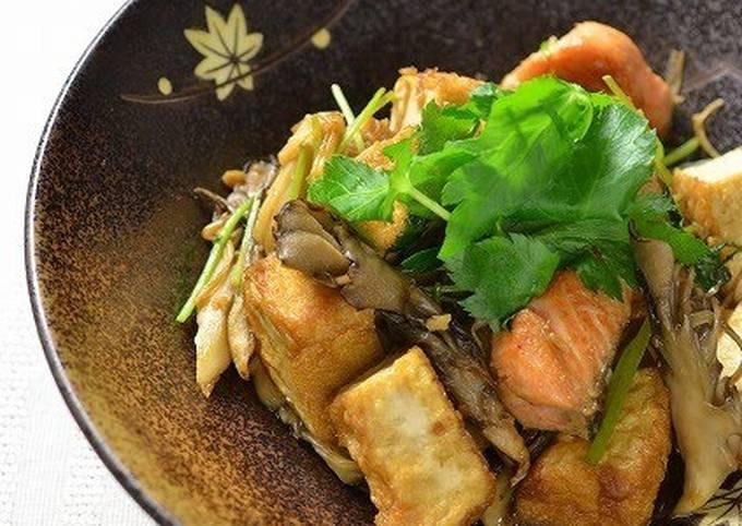 Sauted Autumn Salmon, Mushrooms and Atsu-age Tofu with Soy Sauce
