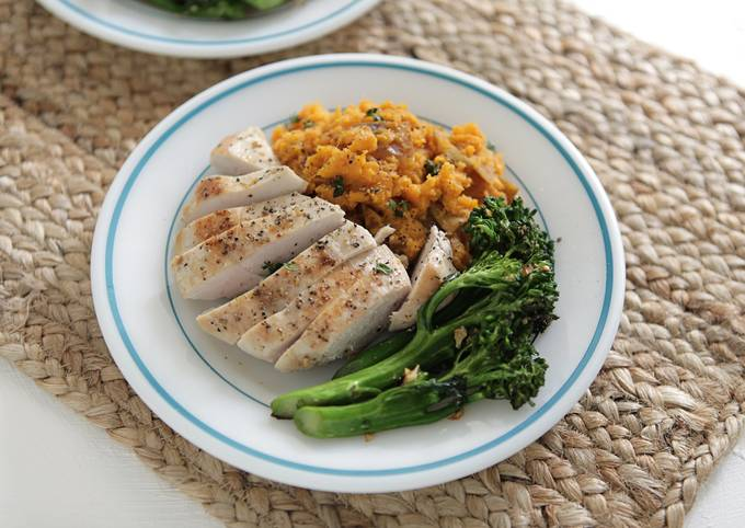Chicken Breasts, Sorghum Sweet Potatoes, and Young Broccoli with Chipotle Orange Salt