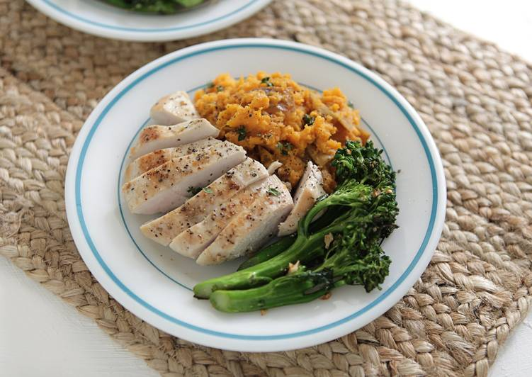 Simple Way to Make Favorite Chicken Breasts, Sorghum Sweet Potatoes, and Young Broccoli with Chipotle Orange Salt