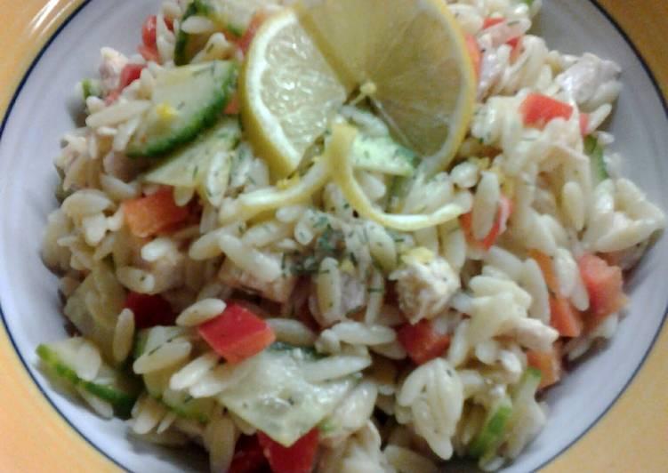 Lemon Orzo Veggie Salad with Chicken