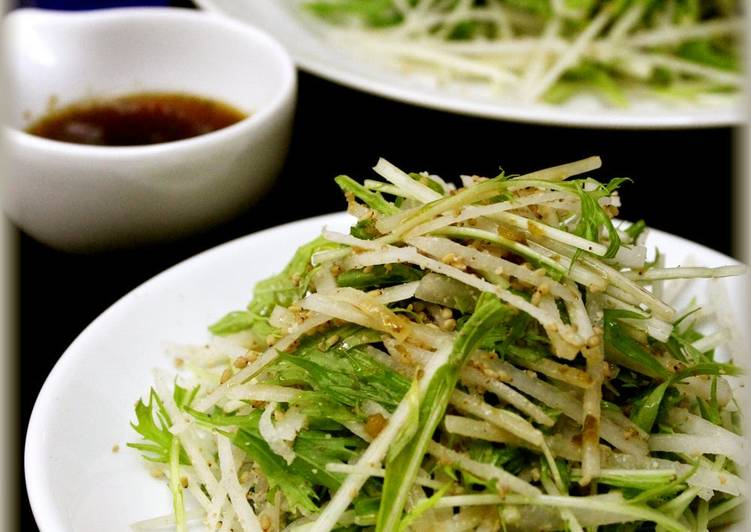 Crispy Daikon and Mizuna Leaves Salad with Yuzu-kosho Flavour - Laurie G Edwards