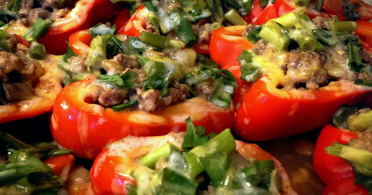 Stuffed Red Bell Peppers (Without Rice)
