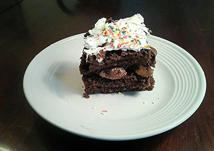 Chocolate Sheet Cake with Whipped cream Toppings