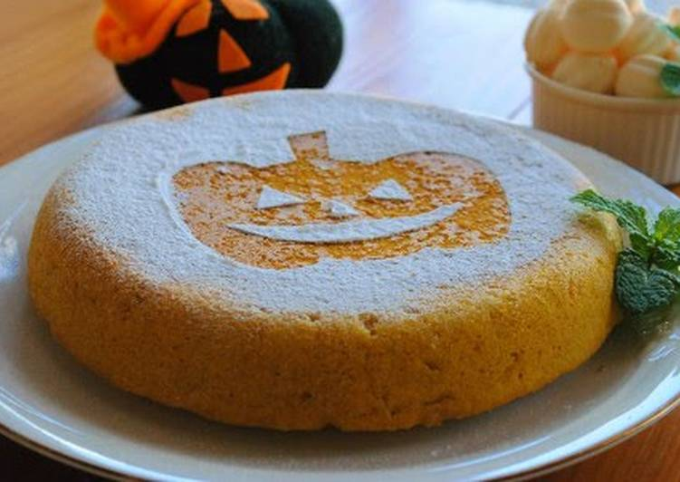 Use Food to Boost Your Mood Halloween Kabocha Cake Made in a Rice Cooker from Pancake Mix