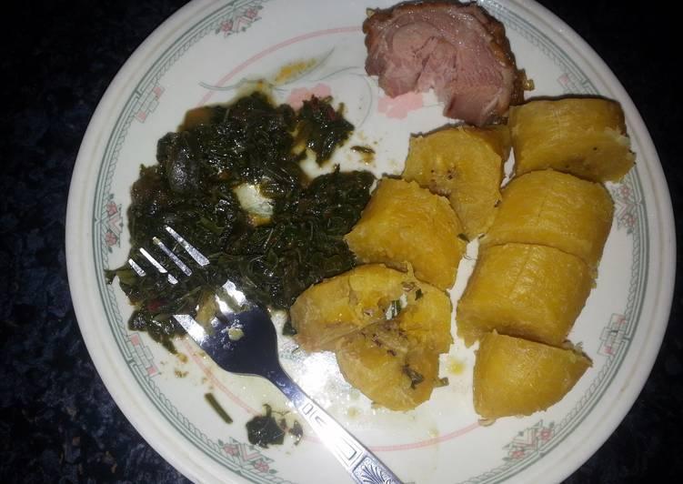 boiled plantain & vegetables.