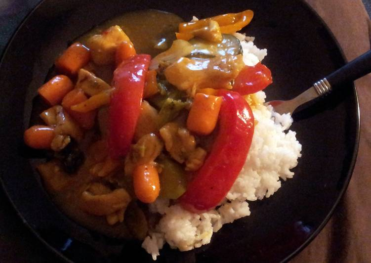 Sweet & sour Chicken curry stir fry W/ rice Choosing Fast Food That's Fine For You