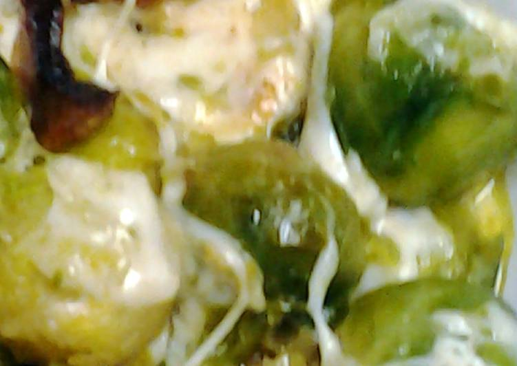 Steps to Make Homemade Brussel sprouts with bacon and cheese