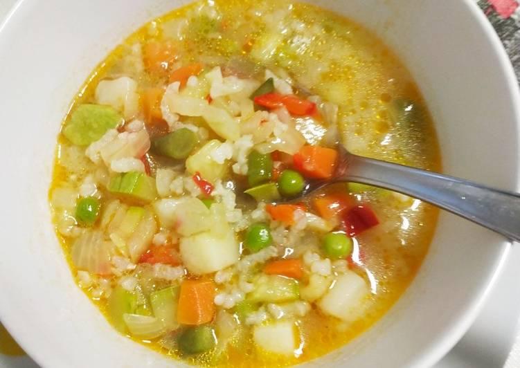 Sopa de ensaladilla de verduras con arroz y algo más